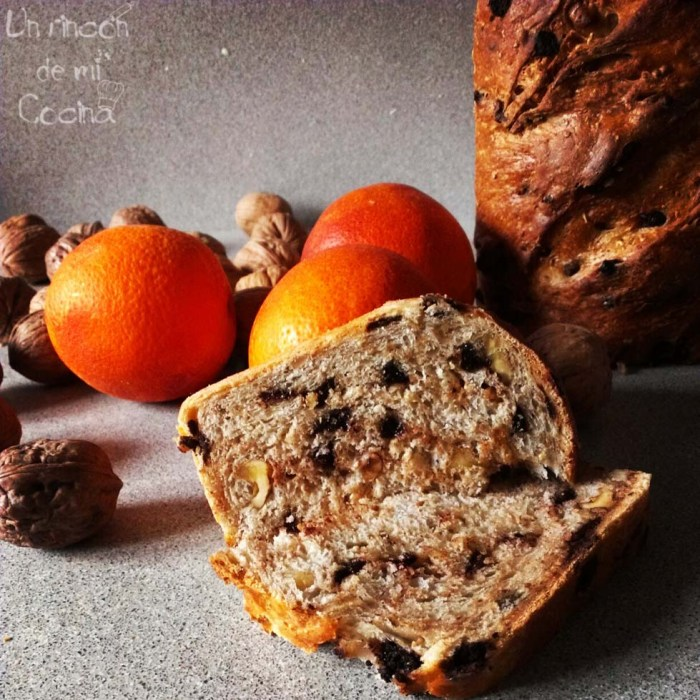 pan de naranja, chcolate y nueces